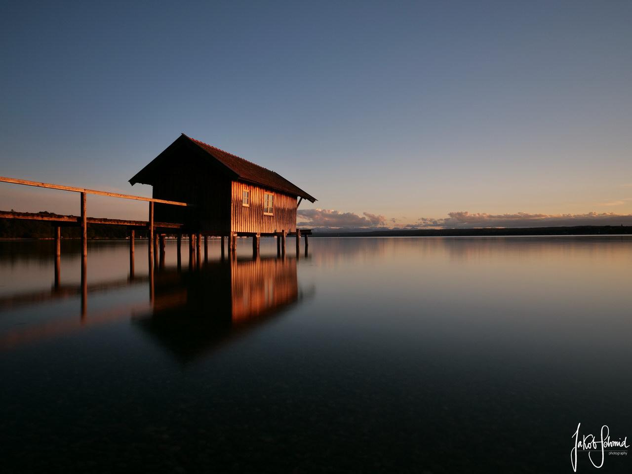 Ammersee Bootshaus Sonnenuntergang