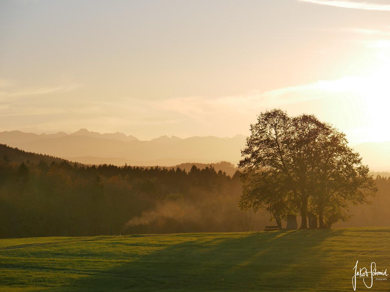 Oberbayern Sonnenuntergang