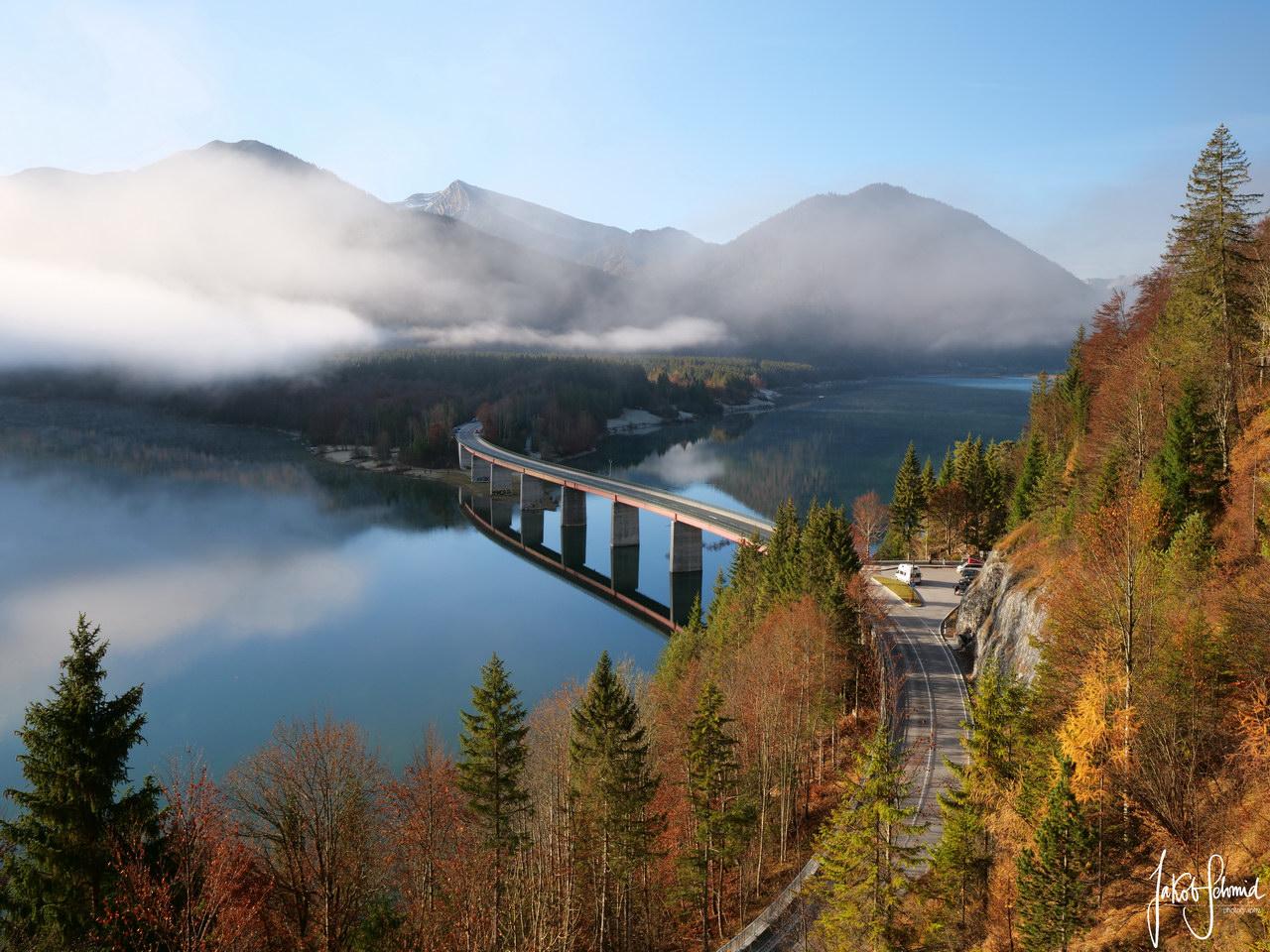 Sylvenstein Speicher Brücke Herbst
