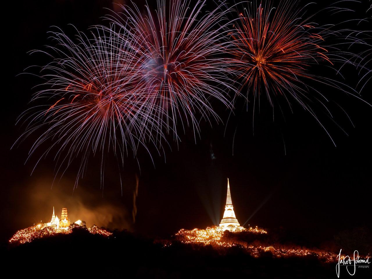 Thailand Phetchaburi Phra Nakhon Khiri Feuerwerk