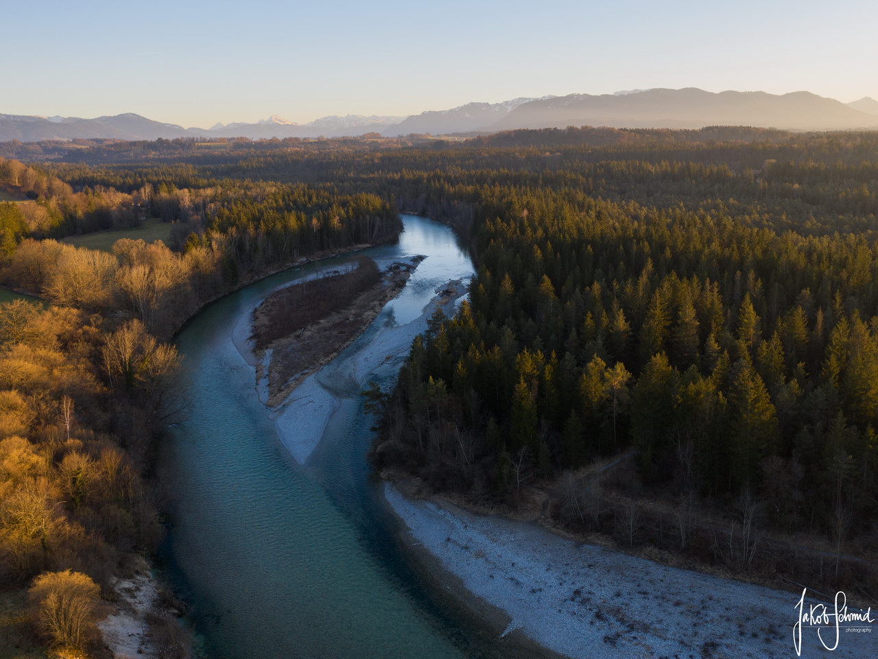 Oberbayern Isar Drohne