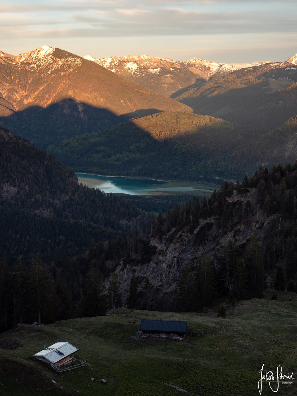 Bayern Alpen Sonnenuntergang Alm