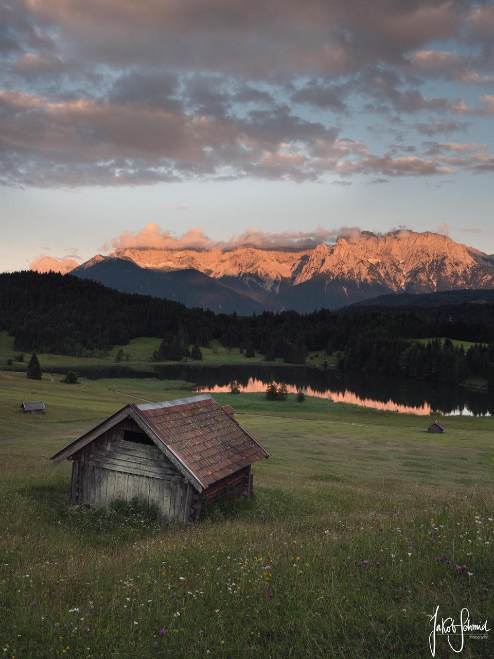 Bayern Geroldsee Karwendel Sonnenuntergang