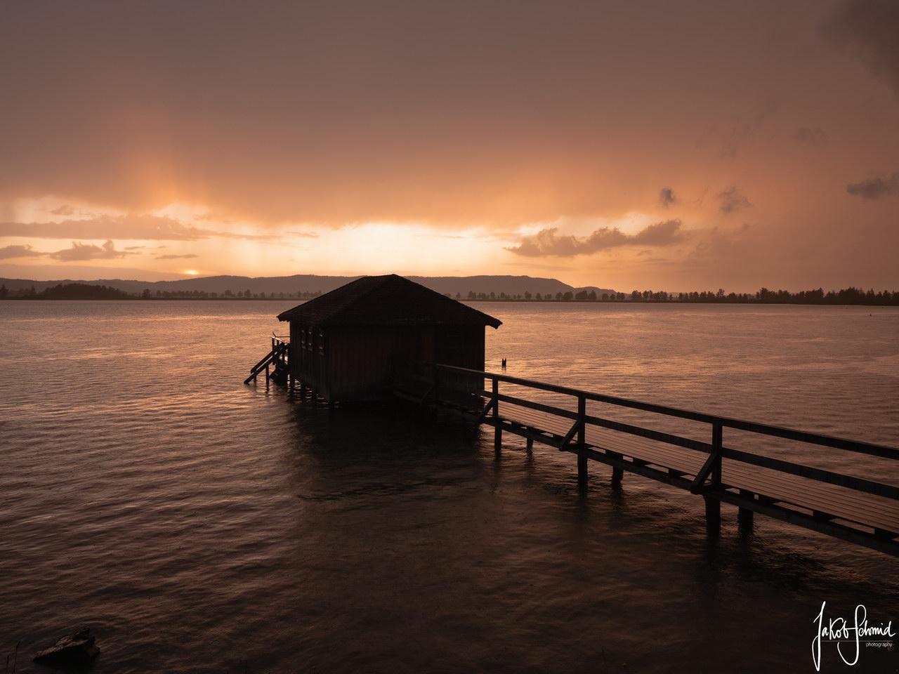 Bayern Kochelsee Bootshaus Sonnenuntergang