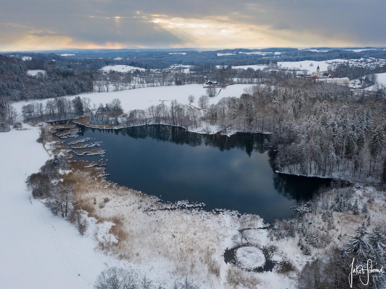 Oberbayern Winter Waldweiher