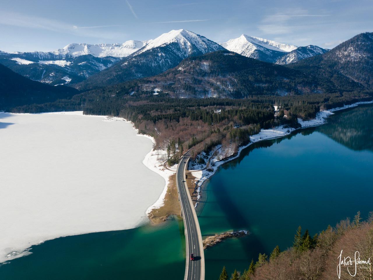 Bayern Sylvenstein Speicher Brücke